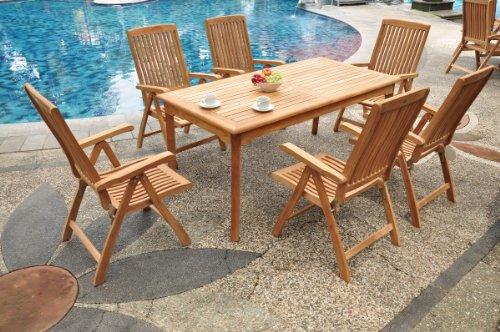 (TeakStation 6 Seater Grade-A Teak Wood 7pc Dining Set: 71