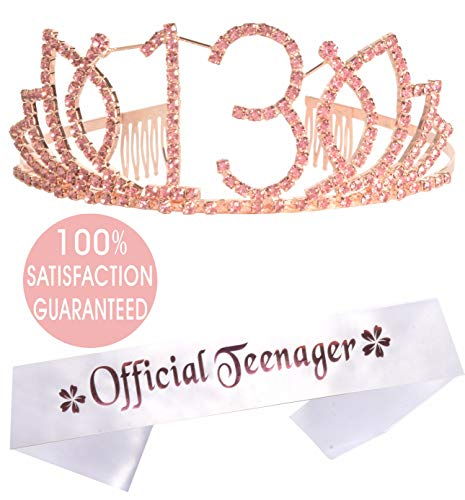 MEANT2TOBE 13th Birthday Tiara and Sash - Happy 13th Birthday Party Supplies - Official Teenager Satin Sash and Crystal Tiara Birthday Crown for 13th Birthday Party Supplies and Decorations
