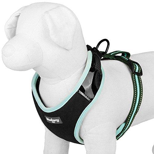Blueberry Pet 3/4-Inch Classic Solid No Pull Ultra-Soft Reflective Dog Harness Vest, Medium, Misty Blue Stripe