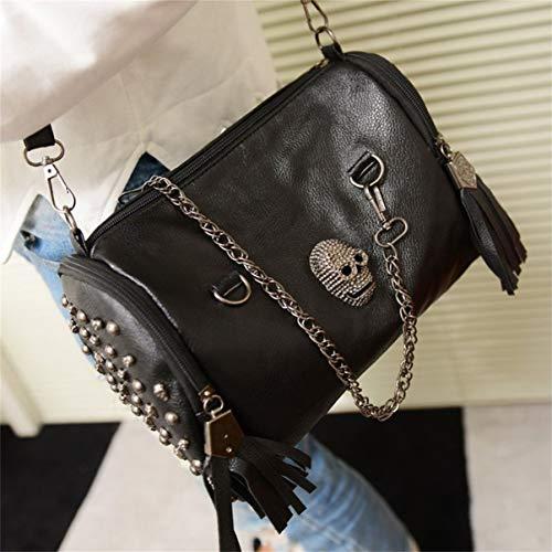 les noir sac main crâne femmes Toutes adapté portable diverses occasions sac assorties à bandoulière bandoulière pour glands rivet à S1wwOqdC