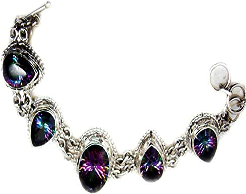 55Carat Mystic Quartz Pendant Sterling Silver Charms Handmade Chakra Healing Vintage Style Pear Shape Necklace