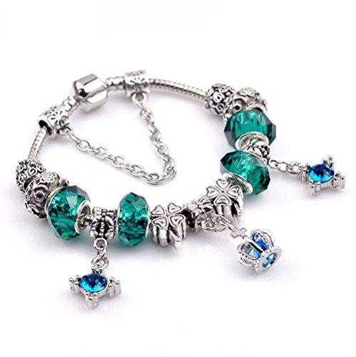 Price comparison product image Gorgeous Jewelry Texture DIY Beads Crown Pendant Titanium Steel Crystal Bracelets of Pandora Jewellery