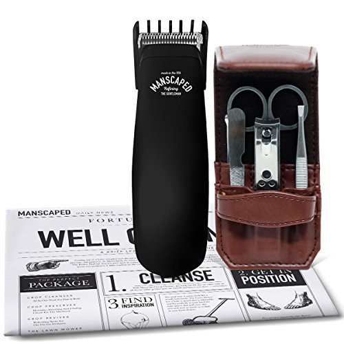 Labor Ease Kit (Mens Bathroom Toiletry Grooming Tools, Includes - High performance, electric Manscaping Trimmer and Stainless steel, 5 piece Nail Kit + Free Disposable Shaving Mats)
