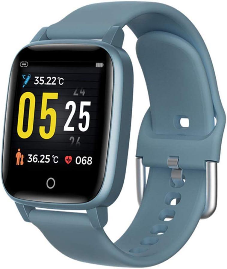 GREATY Rastreador de Ejercicios con Temperatura Corporal Ritmo cardiaco Monitor de sueño, IP67 Impermeable Reloj Inteligente con Contador Pasos Llamada Mensaje Despertador para Mujeres Hombres,Azul