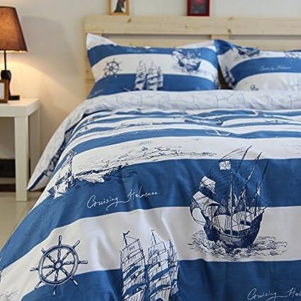 Norson Mediterranean Bedding Sets Nautical Sailor Marine Simple Blue And White