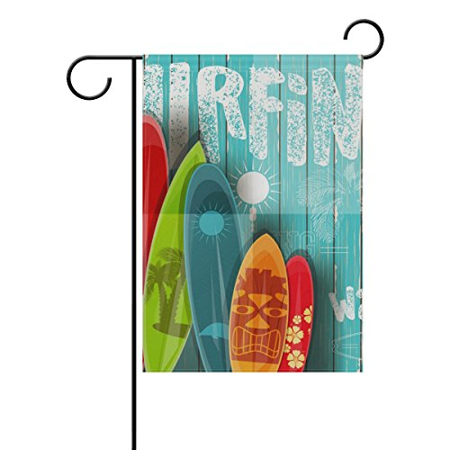My Little Nest Double Sided Indoor Outdoor Garden Flag Vintage Surfboards Fade Resistant Seasonal Holiday Decorative Yard Flag 12x18 (Stand Surfboard Couple)