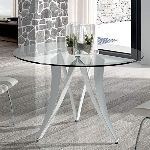 Mesa de comedor redonda de diseño de cristal y metal, color blanco ...