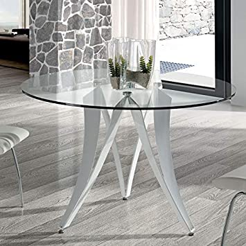 Tisch Rund Metall Glas.Esstisch Rund Design Marion Aus Glas Und Metall Weiß