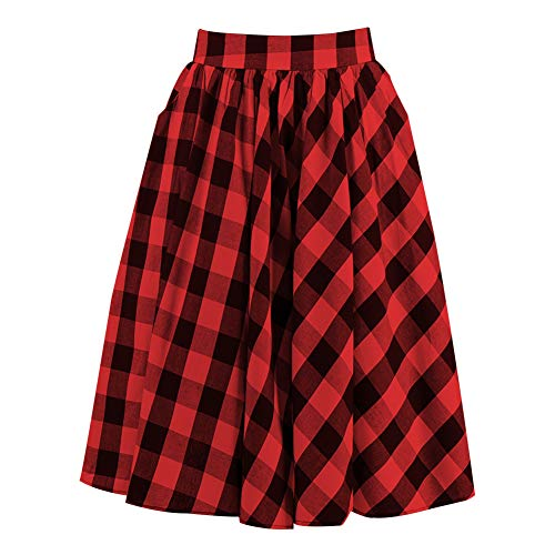 Candow Look Plaid Skirt High Waist Vintage Mid Length Cotton Skirts Redk&black Plaid