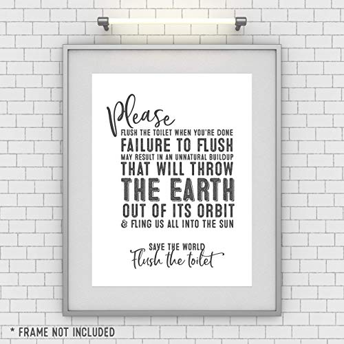 Save the World Flush the Toilet - Funny Bathroom Sign - Unframed 11x14 Art Print