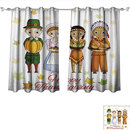 Kichler Drapes (DragonBui Blackout Grommet Curtains Happy Thanksgiving Wallpaper Background 3 Layers High Density & Noise Reduction Fabric W55 x L72/Pair)