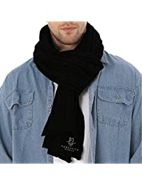 FORBUSITE Men Cable Knit Scarf for Winter Extra Long Black