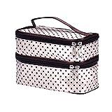 Futemo Women Girls Portable Cosmetic Bag Handy Organizer Large Capacity Makeup Case Toiletry Pouch Zip Bag (Beige)