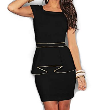 67f809abd20e 8002 - Plus Size Cap Sleeves Gold Peplum Bodycon Cocktail Dress Ivory/Black  (3X, Black) at Amazon Women's Clothing store: