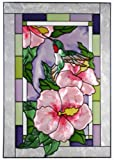 Hummingbirds Hibiscus Vertical Art Glass Panel 20 x 14