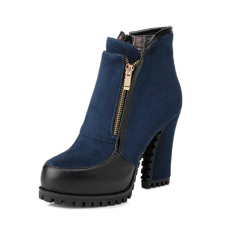 Fanala Snow Womens Winter Boots Thick High Heels Platform Cowboy Zipper Boot Shoes (9 B(M) US, Blue)