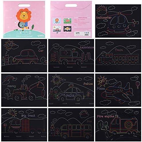 スクラッチアート スクラッチ塗装 はがき 10枚入り 削るだけで美しいアート 塗り絵 ペーパーアート(車シリーズ)(26x19cm)