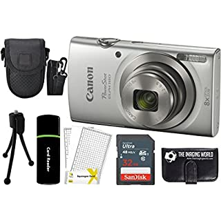 Canon PowerShot ELPH 180 20MP 8X Zoom Digital Camera (Silver) + 32GB Card + Reader + Case + Accessory Bundle