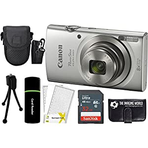 51bkoKIvfPL. SS300  - Canon PowerShot ELPH 180 20MP 8X Zoom Digital Camera (Silver) + 32GB Card + Reader + Case + Accessory Bundle