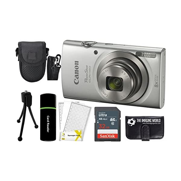 51bkoKIvfPL. SS600  - Canon PowerShot ELPH 180 20MP 8X Zoom Digital Camera (Silver) + 32GB Card + Reader + Case + Accessory Bundle