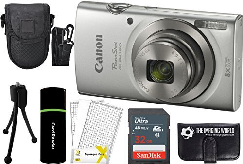 Canon PowerShot ELPH 180 20MP 8X Zoom Digital Camera (Silver) + 32GB Card + Reader + Case + Accessory Bundle (Best Compact Travel Zoom Camera 2019)