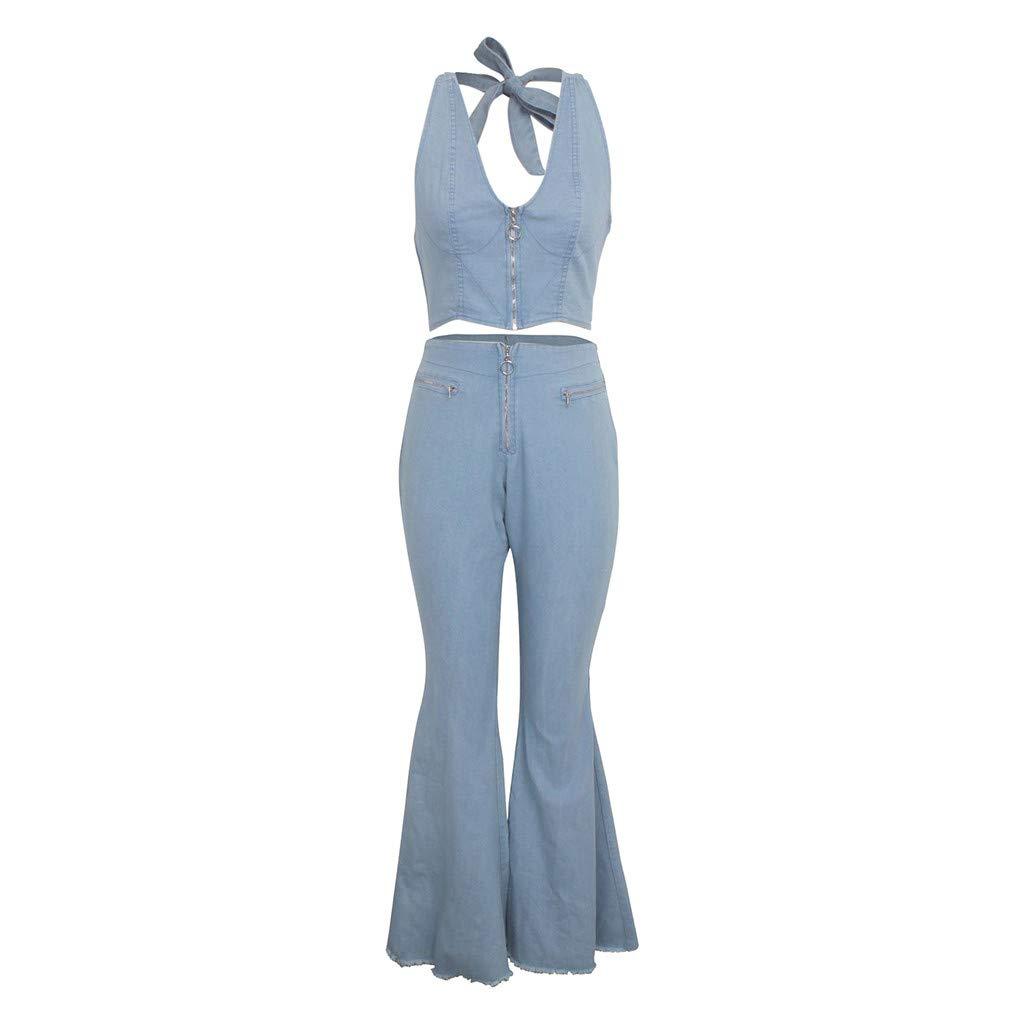 Cardith Damen Jeans Elegant Stretch Skinny Schlaghose Jeanshose Bootcut Hose Low Waist Weites Bein Retro Stil Denim Pants