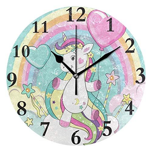 (Dozili Rainbow Magic Unicorn Balloon Clouds Round Wall Clock Arabic Numerals Design Non Ticking Wall Clock Large for Bedrooms,Living Room,Bathroom)