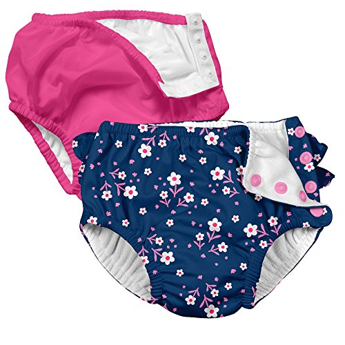 i play 2 Pack Absorbent Toddler Swim Diapers Hot Pink and Navy Blue Pink Posies Flowers 3T