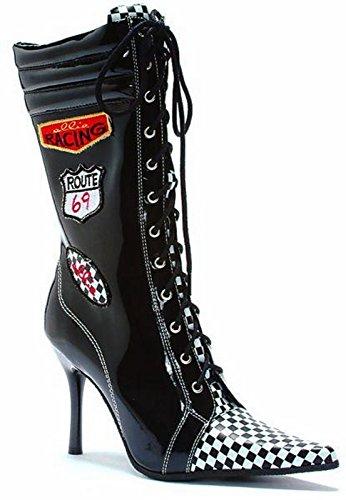 [Ellie Shoes Women's Racer (/White) Adult Boots 8 Black] (Nascar Racer Costume)