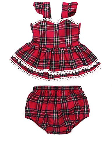 Toddler Baby Girls Trendy Plaid Lace-Trimmed Backless Dress Ruffle Skirt with Bloomer Shorts Set Infant 2PC Summer Outfit(6-12M/size80) Red Classic Lace Trimmed Set