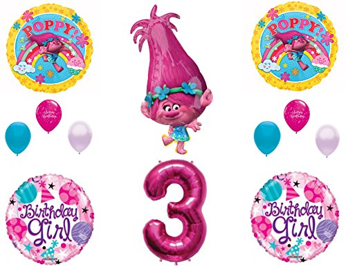 POPPY TROLLS 3rd Birthday Girl Happy Party Balloons Decoration Supplies Movie
