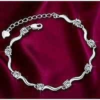N Women Crystal Rhinestone 925 Silver Sterling Bangle Cuff Bracelet Jewelry Gift#by pimchanok shop