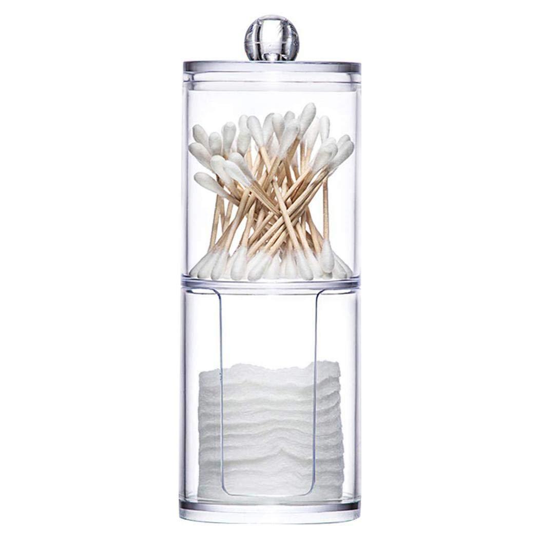 LIOPIO - Caja de hisopos de plástico y algodón, 2 en 1, para guardar cosméticos, botellas de viaje y contenedores