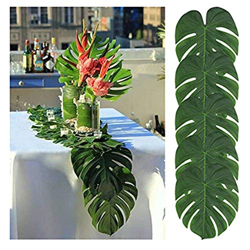 tianyg Artificial Palm Leaves Table Runner,13.8 x 11.4inch,Wedding Hawaiian Luau Theme Party Supplies Table Decoration Summer Party (12pcs)]()