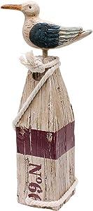 WHY Decor Seagull Statue Hand Carved Dockside Polyresin Seagull Tropical Beach Decor Nautical Decor Indoor Outdoor Decor Coastal Decor Garden Statue Coastal Figurines Home Decor (Small)
