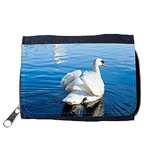 le portefeuille de grands luxe femmes avec beaucoup de compartiments // M00312896 Cisne del pájaro del estanque de agua // Purse Wallet