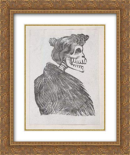 - Jose Guadalupe Posada - 20x24 Gold Ornate Frame and Double Matted Museum Art Print - Profile of a Female Skeleton with a Fur Vest, from a broaside Entitled 'La Calavera de Cupido', published by Anto