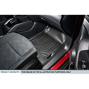 MAXFLOORMAT Floor Mats 2 Row Set Black for 2016-2018 Honda Pilot