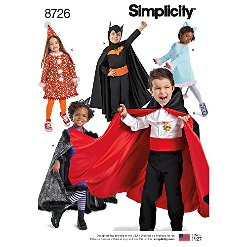 Simplicity 8726 DIY Halloween Costumes for Kids Sewing Pattern, Sizes