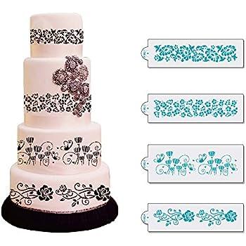 "Art Kitchenware 14.56"" Length Plastic Damask Stencils Wedding Flower Icing Lace Stencils for Cake Decorating Stencils ST-862"