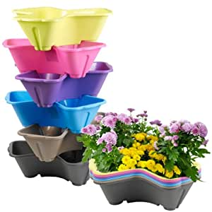 Stackable Plastic 3 Plants Flower Pot Holder (Blue)