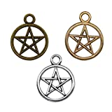 30 Pieces Magic Pentacle Star Protection Lucky Charms Jewelry Making Accessory Necklace pendant 25 x 20mm