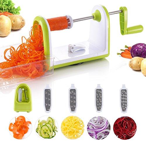 Vegetable Spiralizer 5-Blade Vegetable Slicer,Spiral Slicer Veggie Pasta Spaghetti Slicer and Zucchini Noodles Maker