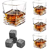 LANGRIA Whiskey Scotch Glasses Set of 4 with Whisky Stones, Mouth-Blown Clubby ad Exquisite Retro-Chic Original 10-Ounce Tumbler Glasses, Made of Lead-Free Glass, Dishwasher Safe