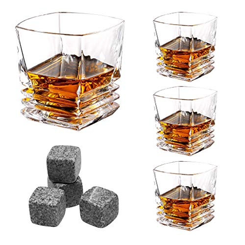 Blown Glass Vessels - LANGRIA Whiskey Scotch Glasses Set of 4 with Whisky Stones, Mouth-Blown Clubby ad Exquisite Retro-Chic Original 10-Ounce Tumbler Glasses, Made of Lead-Free Glass, Dishwasher Safe