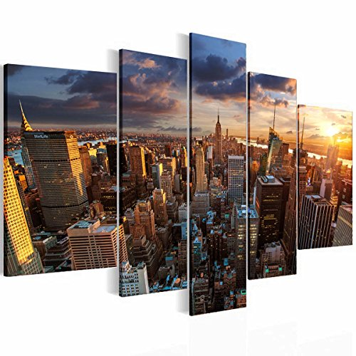 New York Small Poster (Canvas Art Design - New York Skyline Modern Abstract Design Canvas Print 5 Panels Wall Art Home Deco (40x60cmx2p,30x80cmx2p,30x100cmx1p))