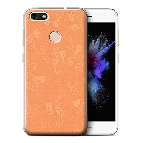 STUFF4 Gel TPU Phone Case/Cover for Huawei P9 Lite Mini/Peach Design/Ladybug Pattern ()