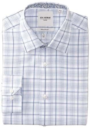 Ben Sherman Men's Plaid Dress Shirt, White/Navy, 16 Inch x 36/37 Inch
