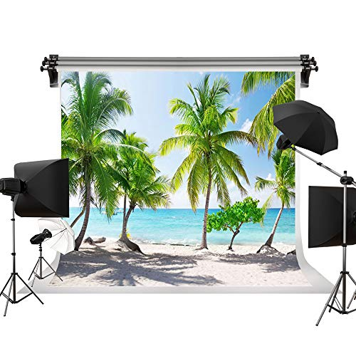 Kate Tropical Beach Backdrop Beach Backgrounds Sea Backdrop Palm Trees Summer Background for Photography Photo Studio Backdrop 10X6.5ft/(3X2m)