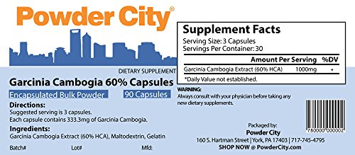 Powder City Garcinia Cambogia 60% Capsules (90 Capsules)